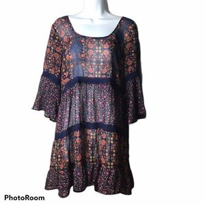Band of Gypsies Sheer Floral Mini Dress or Tunic